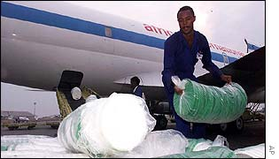 Emergency supplies arrive at a Rwanda airport