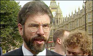Gerry Adams outside Westminster