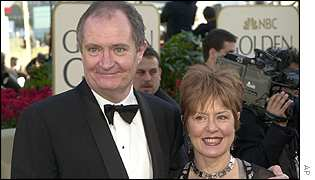 Winner Jim Broadbent arrived at the Los Angeles awards with his wife Anastasia Lewis