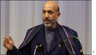 Afghanistan's interim prime minister Hamid Karzai
