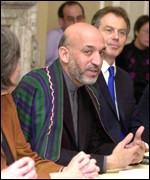 Hamid Karzai in the UK government's cabinet meeting