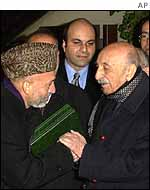 Hamid Karzai with former Afghan King Mohammad Zahir Shah