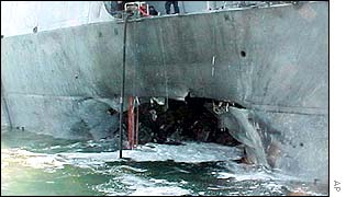 Damage from a bomb on the USS Cole in Yemen