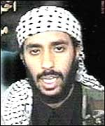 The suicide bomber, thought to be Ahmad Al-Haznawi, speaking on the tape
