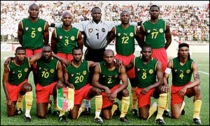 Cameroon line up before their game with DR Congo