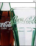 Coke bottle and glass