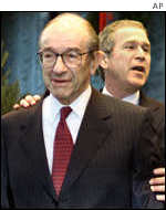 Central Bank governor Alan Greenspan and President Bush