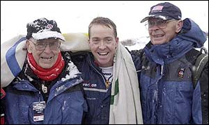 Jim Shea (centre) with his grandfather Jack (left), and father Jim Sr  after Shea qualified for the Olympic Skeleton