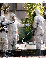biohazard workers in Capitol decontamination