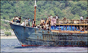 Boat carrying asylum seekers from the Middle East