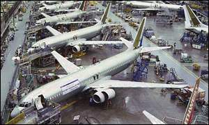 Boeing planes in factory
