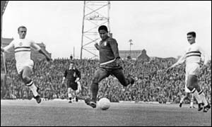 Eusebio in action against Hungary at the 1966 World Cup