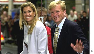 Crown Prince Willem-Alexander and his bride-to-be, Maxima Zorreguieta