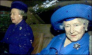 The Queen (left) and the Queen Mother