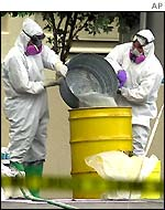 FBI agents wearing bio-hazard suits