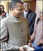 Congo-Brazzaville President Sassou-Nguesso voting yes on the referendum