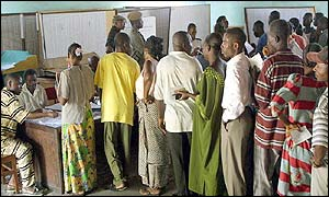 Residents line up to cast their ballot at a polling station in Brazzaville