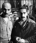 Elie Hobeika, right, pictured with Lebanese forces leader Samir Geagea in 1985