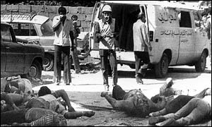 Bodies lie in rubble at the Sabra Palestinian refugee camp in Beirut on 19 September 1982