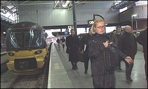 Commuters arrive at Leeds