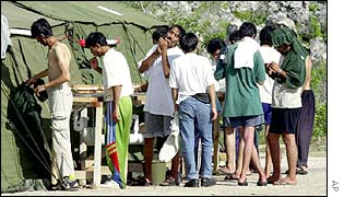 Asylum-seekers at a refugee camp on the island of Nauru