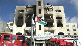The wrecked Voice of Palestine radio station