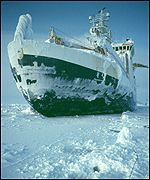 An ice-breaking scientific survey ship