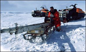 The Antarctic research team at work.