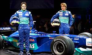 Felipe Massa (left) and Nick Heidfeld at the launch of the new Sauber C21 Formula One car
