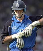Nasser Hussain is dismissed for a single