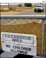 Sign on perimeter fence
