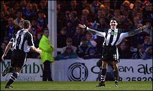 Two of Newcastle's goalscorers Alan Shearer and Jamie McClen
