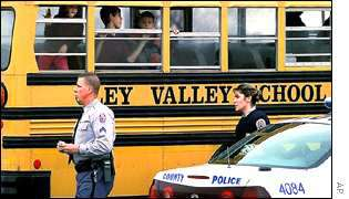 Children on the school bus with police