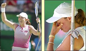 Martina Hingis shows her despair after letting the title slip from her