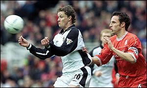 Solskjaer (right) and Wallwork at The Riverside