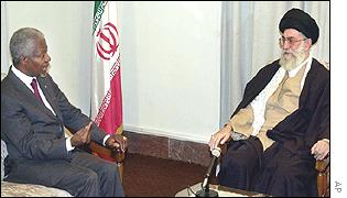 Supreme Leader Ayatollah Khamenei and UN Secretary General Kofi Annan
