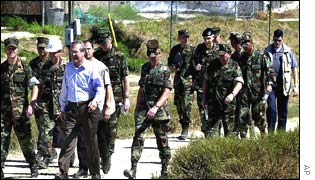 US Defence Secretary Donald Rumsfeld at Camp X-Ray in Guantanamo Bay