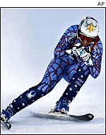 Picabo Street during her donwhill run at the Winter Olympics