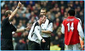 Jamie Carragher was shown the red card at Highbury