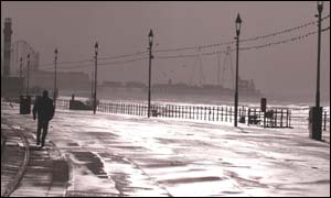 Lone walker along Blackpool sea front