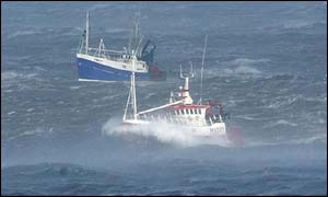 North Sea fishing vessels off Whitby in Yorkshire