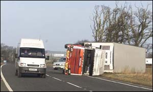 Traffic casualty of winds in northern England