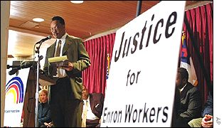 Jesse Jackson attends a meeting on Enron workers' rights