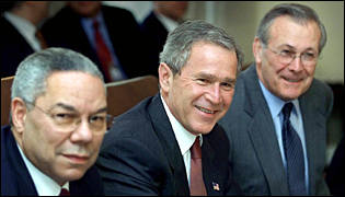 Colin Powell, George Bush, Donald Rumsfeld