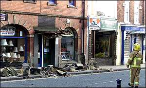 Damage caused by high winds in Morpeth, Northumberland