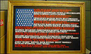 Flag with victims' names