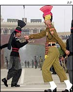 Indian and Pakistani guards at Wagah border post