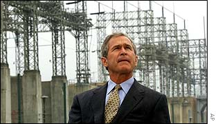 President Bush at a US hydroelectric plant