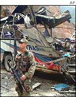 Soldier on guard after ELN bus bombing in December 2001