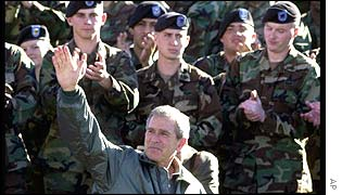 President Bush with US troops